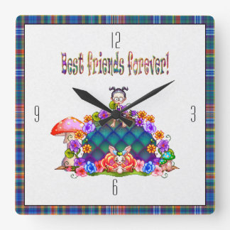 Best Friends Forever Pixel Art Square Wall Clock