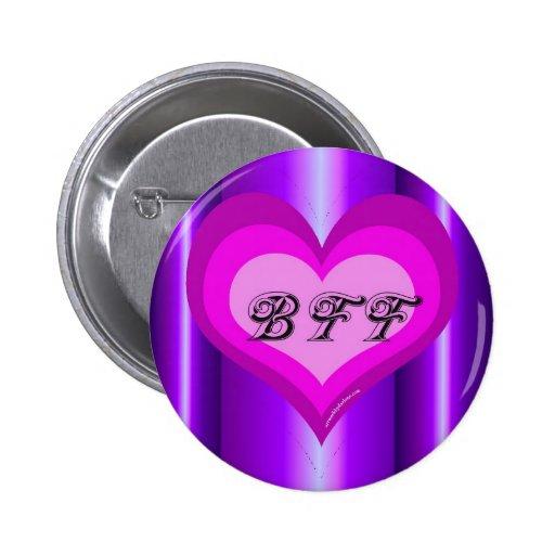 Best friends forever purple heart 2 inch round button