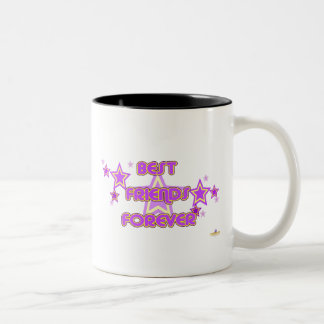Best Friends Forever Purple Yellow Stars Two-Tone Coffee Mug