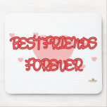 Best Friends Forever Red Lt Hearts Mouse Pad