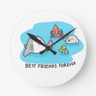 Best friends forever! round clock