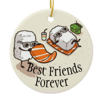 Best Friends Forever Sushi On Beach Ceramic Ornament