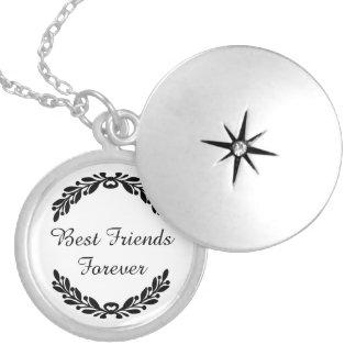 Best Friends Forever with Laurel Wreath Crest Round Locket Necklace
