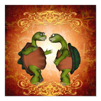 Best friends, funny turtles magnetic card