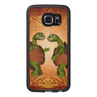 Best friends, funny turtles talk to each other wood phone case