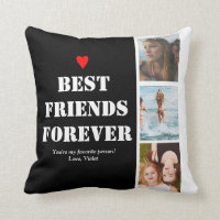 Best Friends Gift Customizable Photo Collage BFF Throw Pillow