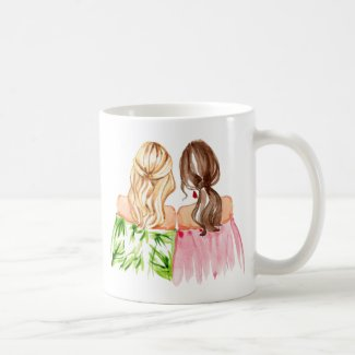 Best Friends Gift Mug Blonde and Brunette