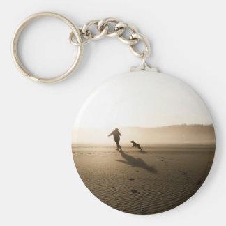 Best Friends Girl and Dog on Beach Basic Round Button Keychain