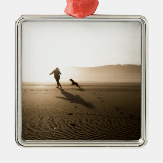 Best Friends Girl and Dog on Beach Metal Ornament