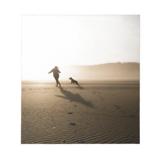 Best Friends Girl and Dog on Beach Notepad