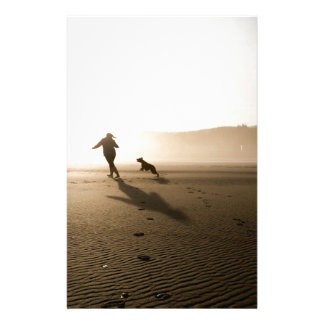 Best Friends Girl and Dog on Beach Stationery