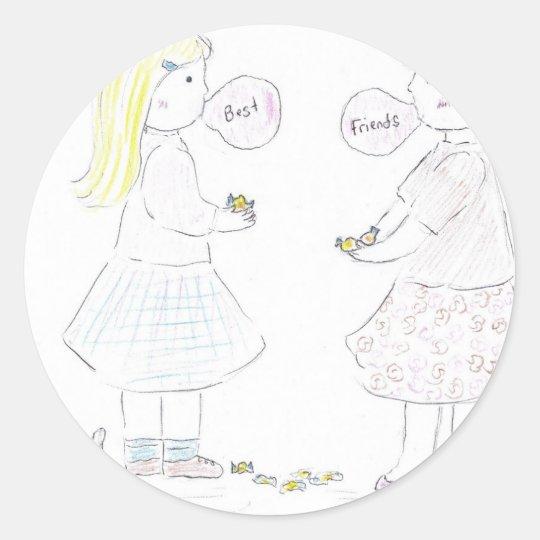 Best Friends Girls Classic Round Sticker
