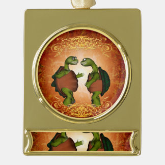 Best friends gold plated banner ornament