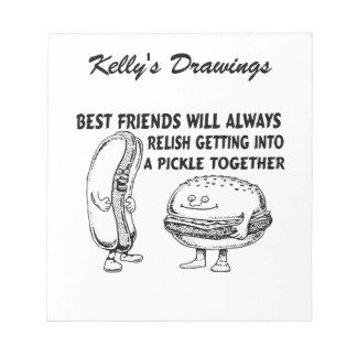 Best Friends Hamburger & Hotdog Trouble Notepad