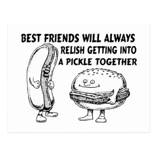 Best Friends Hamburger & Hotdog Trouble Postcard