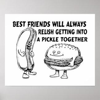 Best Friends Hamburger & Hotdog Trouble Posters