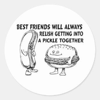 Best Friends Hamburger Hotdog Trouble Round Stickers