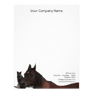 Best Friends Horse and Cat Cuddle Up Letterhead