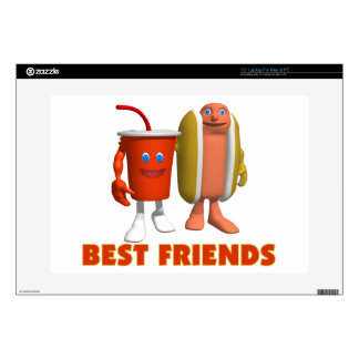 """Best Friends Hot Dog & Soda Decals For 15"""" Laptops"""