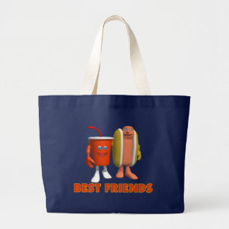 Best Friends Hot Dog & Soda Large Tote Bag