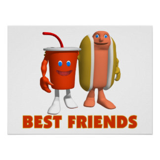 Best Friends Hot Dog & Soda Poster
