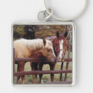 Best Friends Silver-Colored Square Keychain