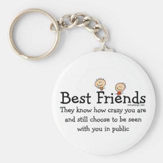 Best Friends Basic Round Button Keychain