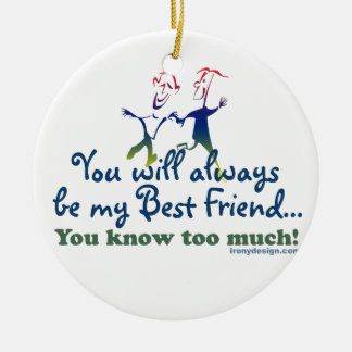 Best Friends Knows Double-Sided Ceramic Round Christmas Ornament