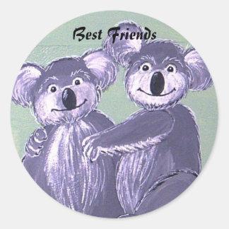 Best Friends Koala Bear Hugs Classic Round Sticker