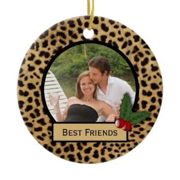 Christmas Themed Best Friends Leopard Print Christmas Ornament