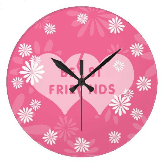 Best Friends Linked Hearts Large Clock