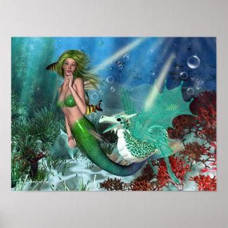 Best Friends Mermaid Fantasy Poster