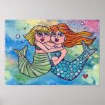 Best Friends Mermaid Print