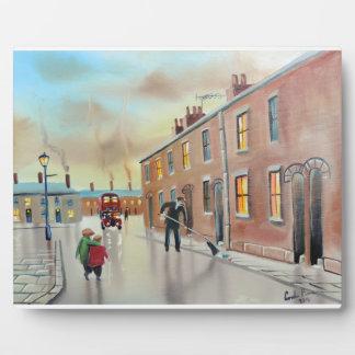 Best friends nostalgic street scene painting plaque