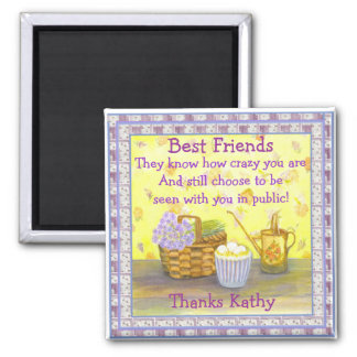 """Best Friends on """"Eggs and Flowers"""" 2 Inch Square Magnet"""