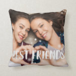 "Best Friends Overlay Photo Throw Pillow<br><div class=""desc"">Celebrate your friendship with your bestie with this cute photo pillow featuring &quot;best friends&quot; along the bottom in white handwritten style brush lettering. Pillow reverses to a subtle blush pink and white dotted diamond pattern.</div>"