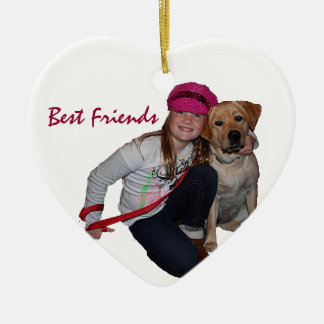 Best Friends-Pretty Girl & Puppy Ceramic Ornament