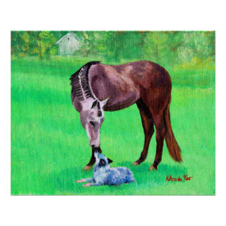 Best Friends Quarter Horse Australian Cattle Dog Poster