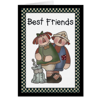 Best Friends Raggedy Dolls/Cat Greeting Card