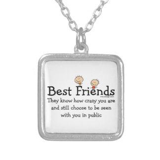 Best Friends Square Pendant Necklace