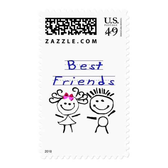 Best friends stick figure postage