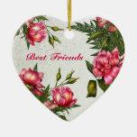 Best Friends - Victorian Roses Heart Ornament