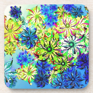 Best gift blue abstract art for mother's day beverage coaster