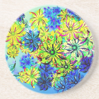 Best gift blue abstract art for mother's day drink coaster