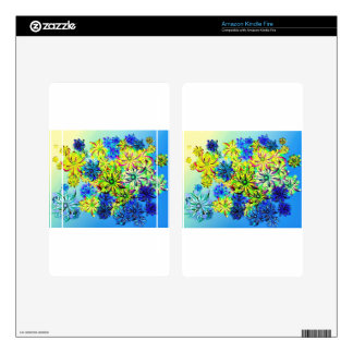 Best gift blue abstract art for mother's day kindle fire skin