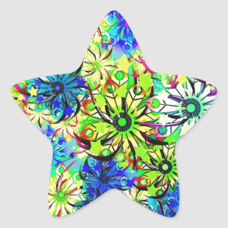 Best gift blue abstract art for mother's day star sticker