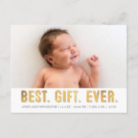 Best. Gift. Ever. Grey/ Gold Faux Foil Photo Birth Holiday Postcard