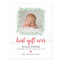 Best Gift Ever Newborn First Christmas Birth Postcard