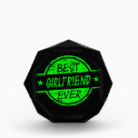"""Best Girlfriend Ever Green Acrylic Award<br><div class=""""desc"""">Best girlfriend ever products! Best Girlfriend Ever shirts,  hoodies,  ornaments,  water bottles,  clocks,  phone case,  ties and more! Perfect appreciation or thank you gift! Perfect anytime gift for the best girlfriend ever to let them know how much you care.</div>"""