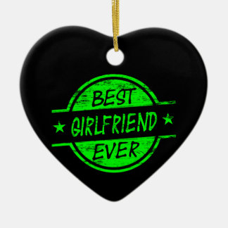 Best Girlfriend Ever Green Double-Sided Heart Ceramic Christmas Ornament